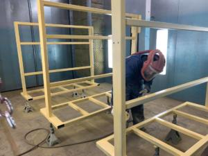 Priming the food industry carts before applying STEEL-IT spray