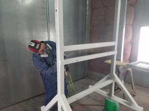 Spraying Primer On Weldments